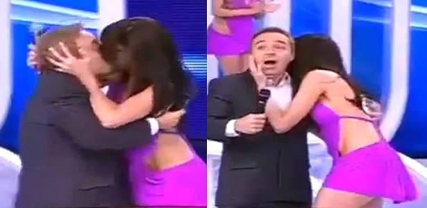 Dançarina surpreende Gugu e dá beijo na boca do apresentador (5/6/11