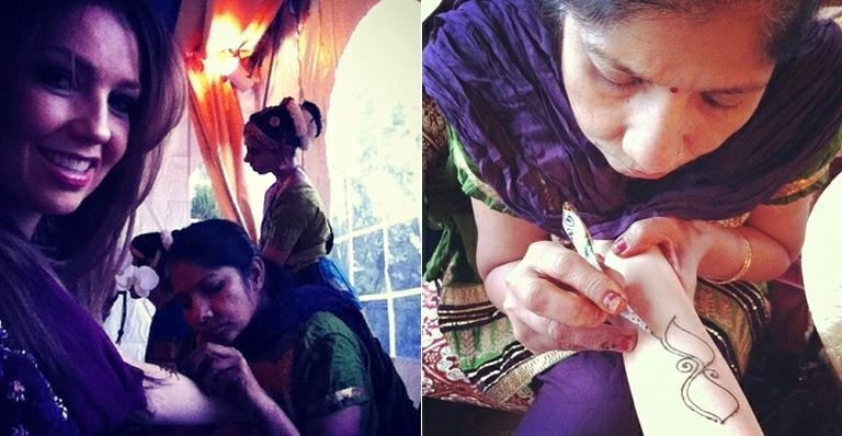 A atriz e cantora Thalia (40) usou o Twitter para mostrar aos fãs sua nova obra de arte: uma tatuagem de henna no braço esquerdo. A estrela publicou na noite deste sábado (14/4/12), fotos do momento em que o desenho era feito