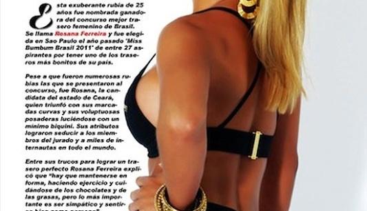 Rosana Ferreira, a Miss Bumbum Brasil, estampou a capa e o recheio da revista espanhola
