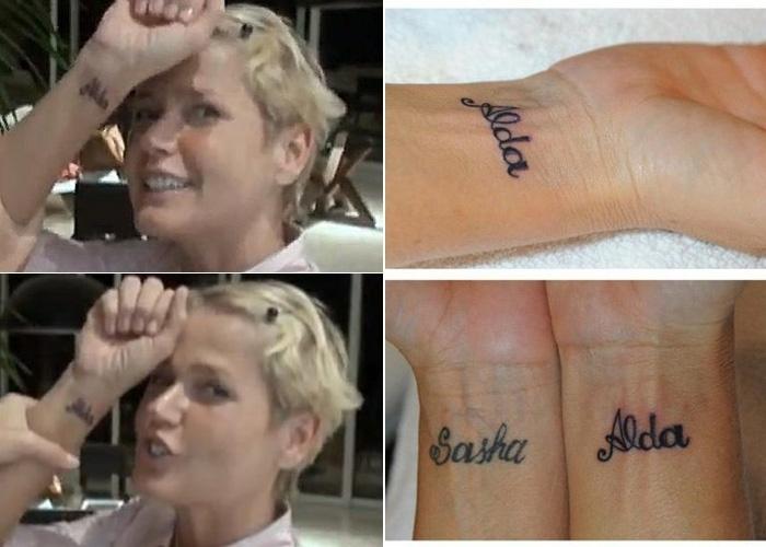Xuxa faz tatuagem em homenagem à mãe Alda Meneghel (20/8/12). Apresentadora escreveu o nome da mãe no pulso direito, desenho semelhante a que tem no mesmo local no braço esquerdo com o nome da filha Sasha