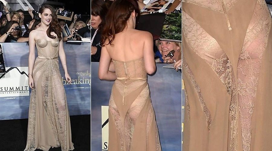 A atriz Kristen Stewart escolheu um vestido longo estrat&#233;gico para a pr&#233;-estreia de &#34;Amanhecer parte 2&#34; &#40;12/11/12&#41;. No evento em Los Angeles, ela optou por um vestido longo rendado que deixava suas pernas completamente &#224; mostra. Al&#233;m disso, era poss&#237;vel ver a calcinha bege que Kristen usava por baixo