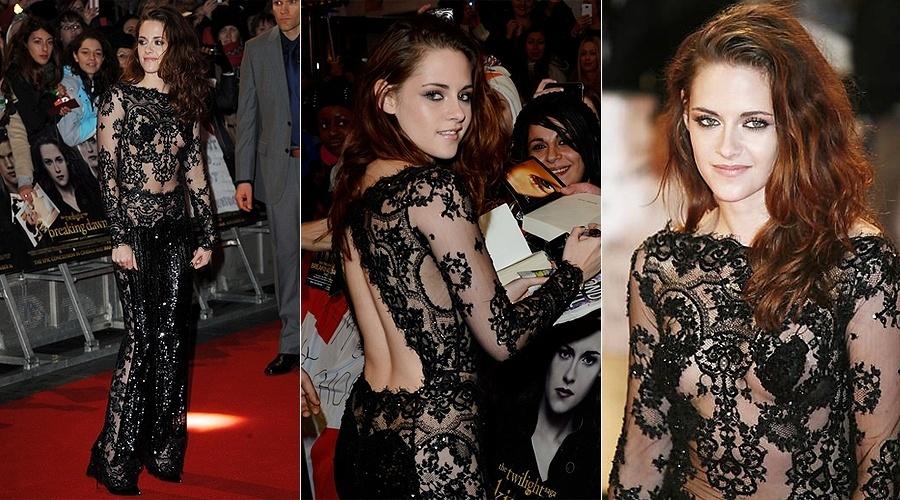 """Depois do vestido longo rendado, transparente e bege que usou em Los Angeles, a atriz Kristen Stewart, 22, levou adiante sua estratégia de chamar atenção com figurinos ousados. Em Londres, ela foi à pré-estreia do filme """"Amanhecer - Parte 2"""" com um modelito tão rendado e transparente quanto o anterior, porém preto (14/11/12). Era uma espécie de macacão, e Kristen aparentemente não estava de sutiã"""