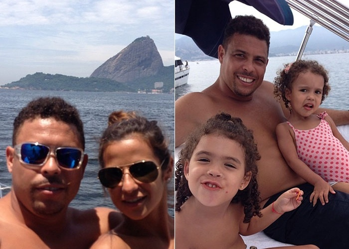 16.fev.2013 - Ronaldo publica uma foto com a namorada, Paula Morais, durante um passeio de barco no Rio de Janeiro. O empresrio e ex-craque mostrou tambm as filhas dele com Bia Antony, Maria Sophia e Maria Alice