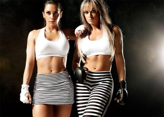 6.mai.2013 - Juju Salimeni e a apresentadora Graciella Carvalho mostraram as barriguinhas saradas no ensaio de uma grife de roupas fitness