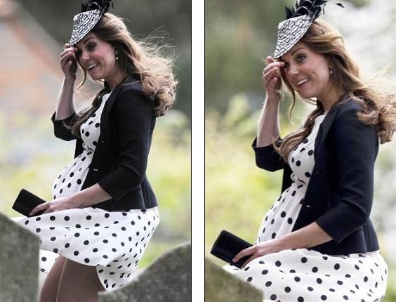 """20.mai.2013 - O jornal britânico """"Daily Mail"""" divulgou fotos da Kate Middleton passando por problemas com o vento, que fez seu vestido subir e mostrou suas coxas. Com o vestido de bolinhas avaliado em 38 libras, a duquesa - que espera seu primeiro filho com o príncipe William - viveu seu momento Marilyn Monroe"""