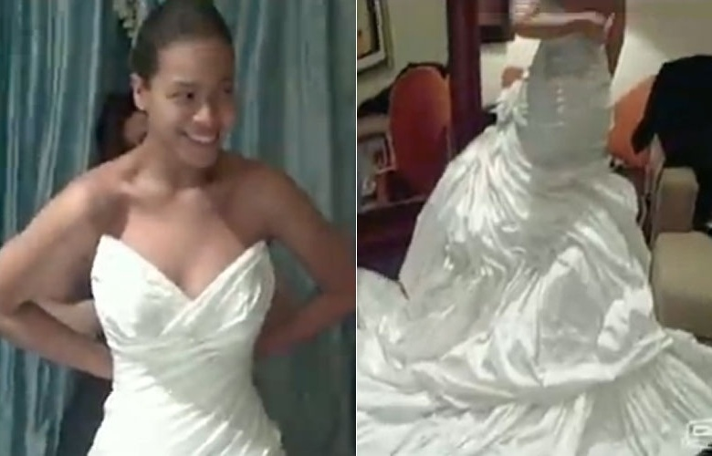 Beyoncé exibe pela primeira vez vestido usado no casamento em 2008. Ela e o rapper Jay-Z se casaram em abril daquele ano e nenhuma foto da cerimônia apareceu na imprensa.