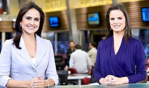 "Carla Cecato e Roberta Piza na bancada do ""Fala Brasil"", jornal da Record"