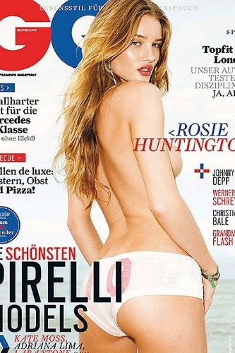 A capa da revista 'GQ' em que a foto de Rosie Huntington-Whiteley está 'modificada'