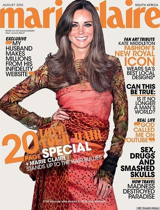 """A edição de agosto (2012) da """"Marie Claire"""" sul-africana resolveu polemizar. Sem conseguir fotografar Kate Middleton, 30, para a capa, a revista apelou para o Photoshop. A duquesa de Cambridge aparece sorridente usando roupas de estilistas locais. Só que, na verdade, ela nunca posou com as roupas. O rosto dela foi colado no corpo de uma modelo"""