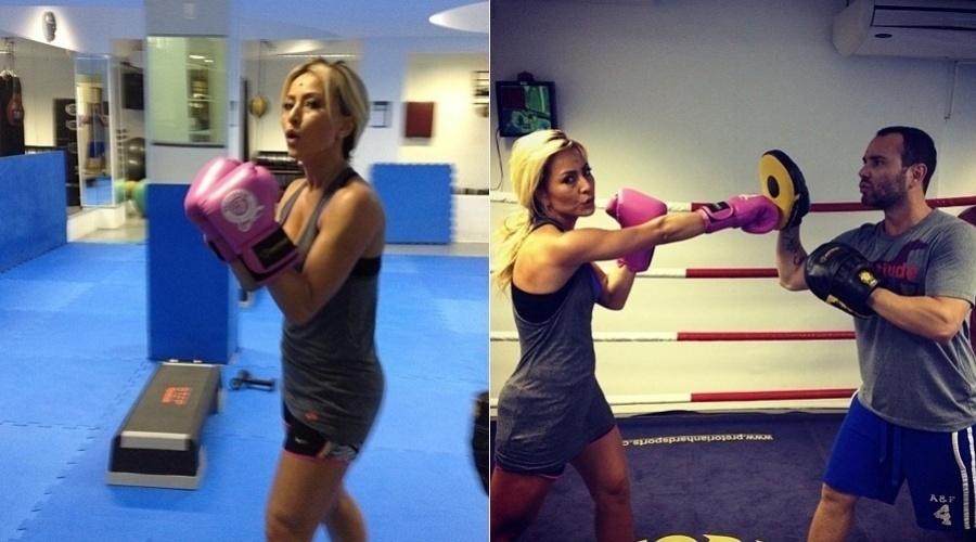 Sabrina Sato faz treino de muay thai com amigo e posta foto no Twitter (28/8/12)