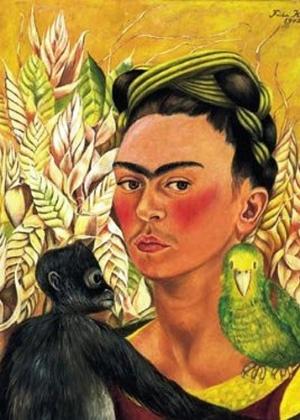 """""""Auto-Retrato com Macaco e Papagaio"""", de Frida Kahlo - Reprodução"""