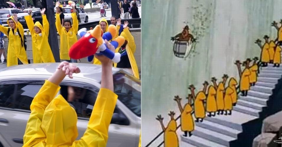 """Dezenas de pessoas se reúnem em frente ao Masp (Museu de Arte de São Paulo) neste sábado (24/11/12), na avenida Paulista, para fazer o flash mob """"Pica Pau desce as Cataratas"""", em São Paulo. Vestidos com capas de chuva amarelas, simularam o episódio no qual o personagem do desenho animado desce uma catarata (dir.)"""