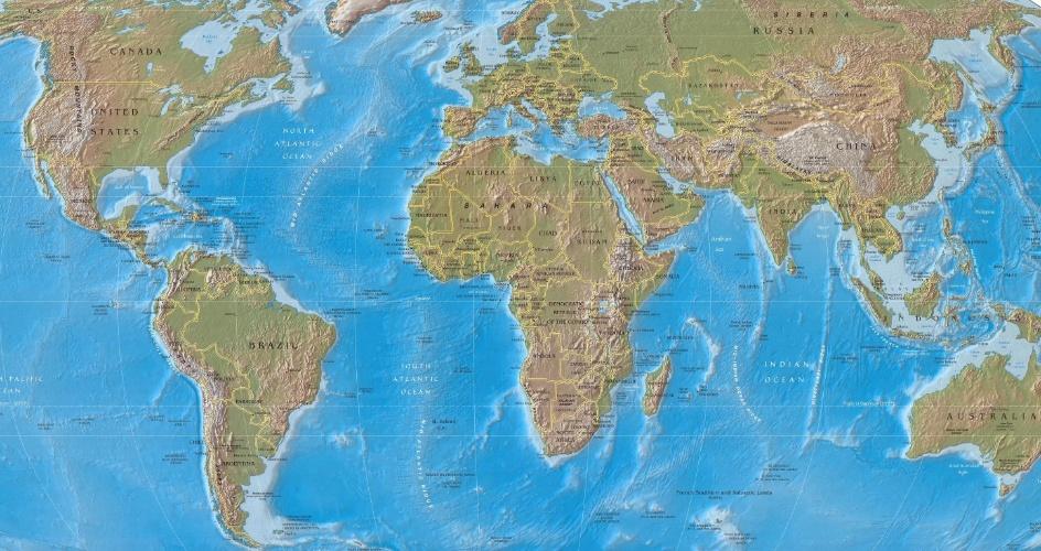 Mapa político do planeta