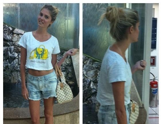 8.jan.2013 - A modelo Bárbara Evans parece estar cada dia mais magra. Em uma foto postada no Instagram, a loira usa shortinho, exibindo as perninhas finas e a barriga de fora