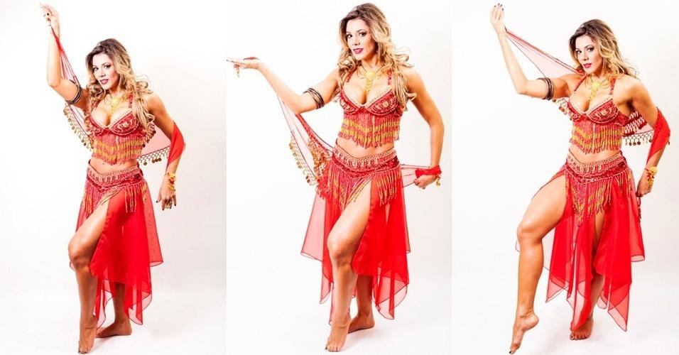8.mar.2013 - A ex-BBB Fabiana Teixeira esbanjou sensualidade em ensaio para uma campanha publicitária. Com fantasia de dança do ventre, a bela exibiu pernas saradas e mostrou que continua com tudo em cima