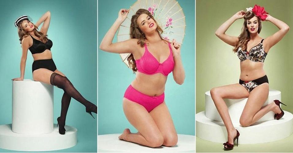 """21.mar.2013 - A modelo plus size australiana Robyn Lawley estrelou ensaio para catálogo de uma grife de lingerie especializada em peças para mulheres com silhueta grande. As fotos, inspiradas em pin-ups dos anos 50, não foram submetidas a tratamento em Photoshop. A informação é site britânico """"Daily Mail"""". Embora seja apenas um pouco mais curvilínea que outras modelos, Robyn já é considerada uma representante plus size no mundo da moda."""