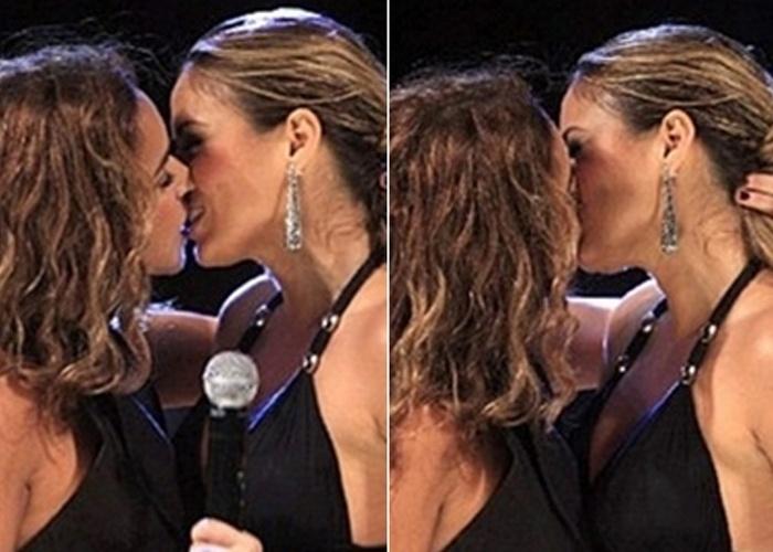 4.abr.2013 - Você se lembra destas fotos? Elas causaram furor em julho de 2008, quando Daniela Mercury surpreendeu a cantora Alinne Rosa com um beijo na boca durante gravação do DVD da Banda Cheiro de Amor, realizada em Salvador. Ao cantar a música