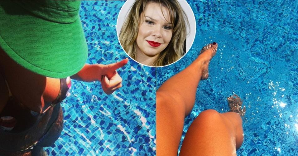 21.abr.2013 - A atriz Fernanda Souza publica em seu Instagram uma foto sua tomando banho de piscina. Fernanda se queixou da temperatura da água: