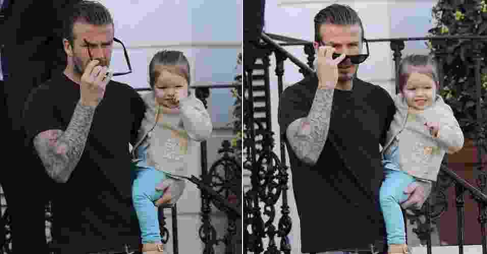 30.abr.2013 - O jogador inglês David Beckham aproveitou o dia de folga para curtir a pequena Harper. Elegantes, pai e filha foram flagrados durante passeio pelas ruas de Kensington, em Londres - Reprodução/Daily Mail
